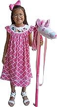 Dana Kids Girls Back to School Apple, Book,Owl, Scissors Hand Smocked Pink Fancy Quatrefoil Dress 3T-10 Years