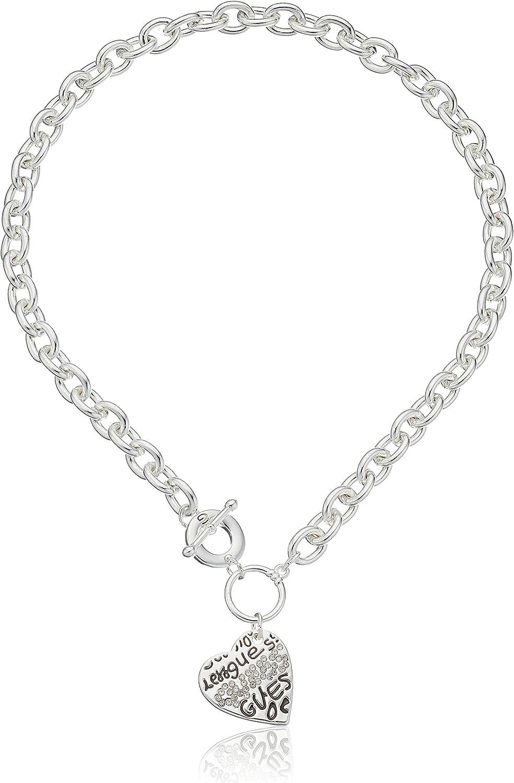 GUESS Basic Crystal Graffiti Heart Toggle Pendant Necklace