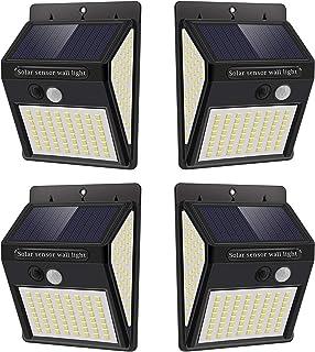 Luz Solar Exterior con Sensor de Movimiento, Luces 144 LED Solares Exteriore, 3 Modos, 270º lluminación Focos Solares Exte...