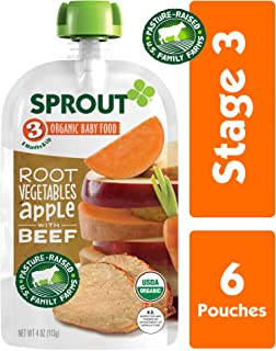 Sprout Organic Stage 3 Baby Food Pouches, Root Vegetables Apple w/ Beef, 4 Ounce (Pack of 6)