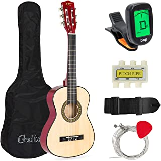 Best Choice Products 30in Kids Classical Acoustic Guitar Complete Beginners Kit w/Carrying Bag, Picks, E-Tuner, Strap Natural