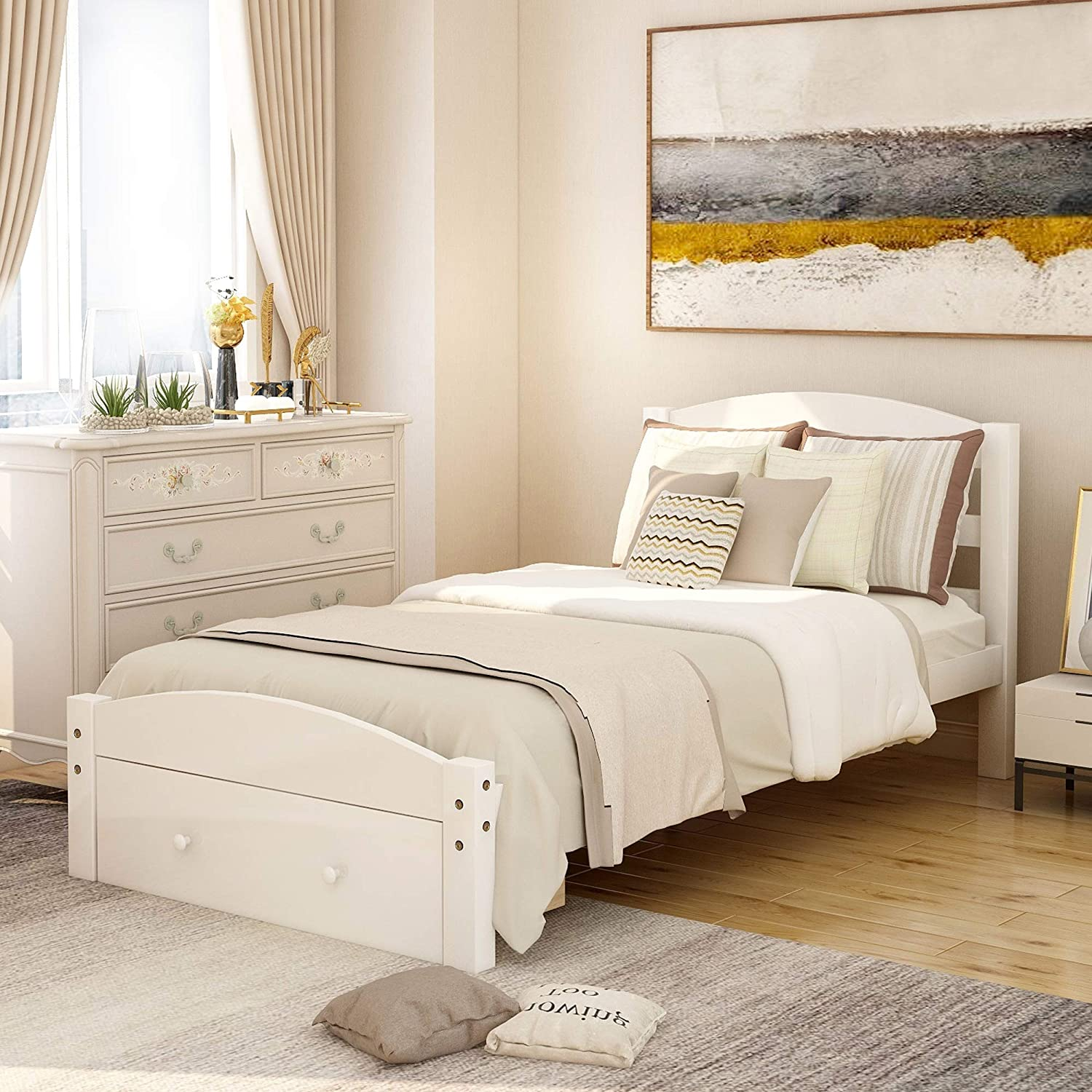 NOSGA Platform Twin Department 67% OFF of fixed price store Bed Frame Wood Drawer Storage Headboar with