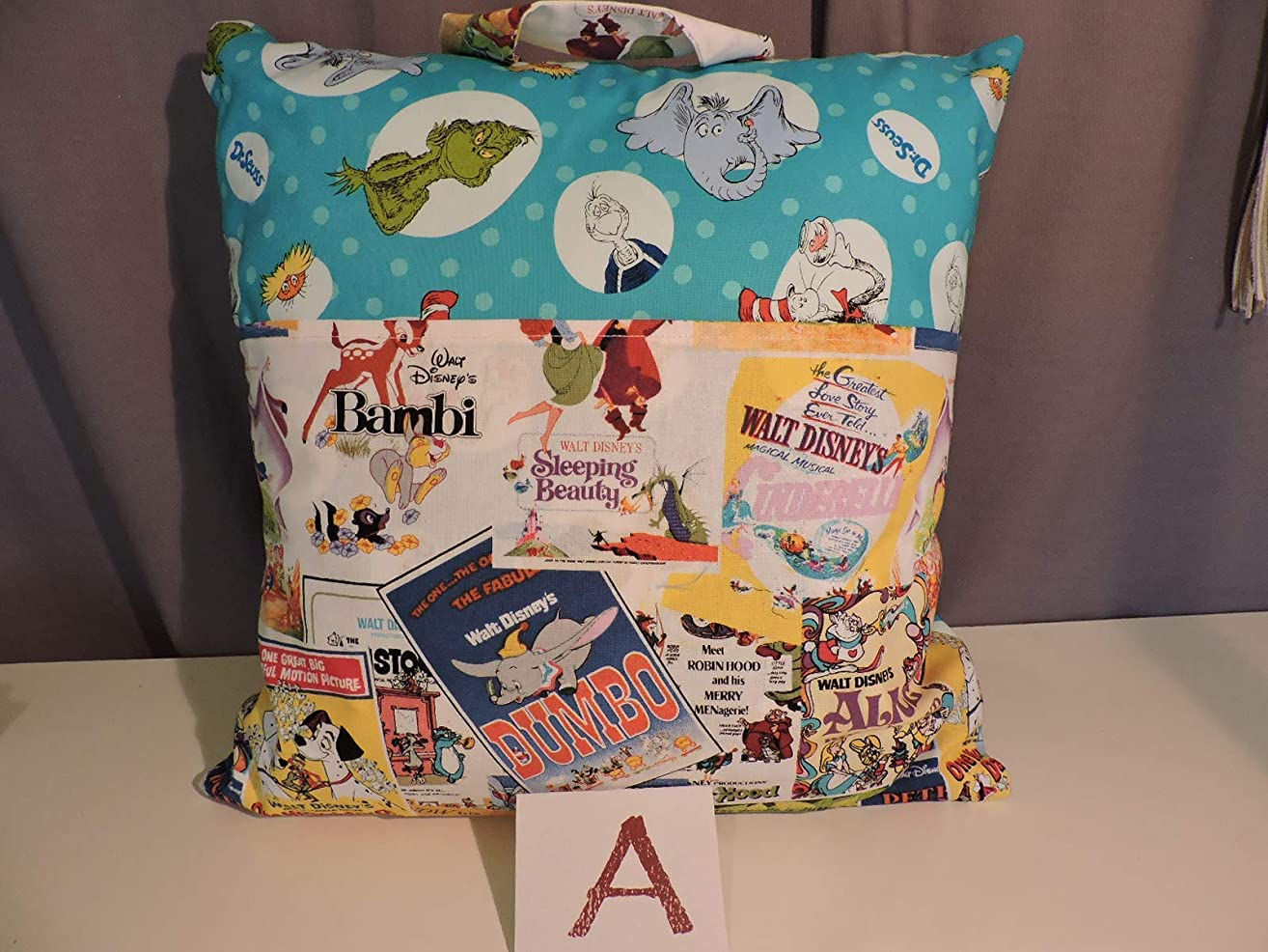 Child's Reader Pillow, Pocket Pillow with Dr Suess, featuring Disney Films/Books on Front Flap - 16