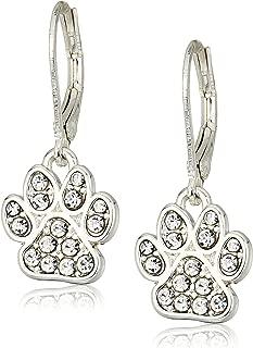 Silvertone/Pave Paw Drop Earrings, Silver