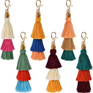 Tatuo 6 Pieces Handmade Bohemian Tassel Keychain Tassels Bag Key Chain Charm Handbags Pendant Key Chain Rings