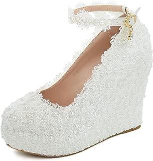 Melesh Lace Flower Pearls Wedge Platform High Heels Pump Bride Wedding Shoes