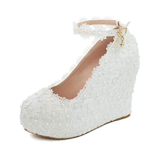 a060b4326f6 Melesh Lace Flower Pearls Wedge Platform High Heels Pump Bride Wedding Shoes