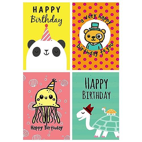 12 Fun Cartoon Animal Design Panda Turtle Octopus Bear Birthday Cards