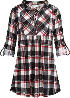 Womens Mandarin Neck 3/4 Roll Sleeve Plaid Shirt Button Down Tunic Tops