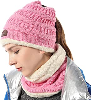 Ponytail Beanie Knit Infinity Scarf Set Womens/Girls Fuzzy Lined Messy High Bun Cap Circle Scarves