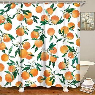 LIVILAN Orange Shower Curtain Set with 12 Hooks, Bright Fruits Plant Design Fabric Bathroom Curtain, Decorative Bath Curtain, Machine Washable, 72 X 72