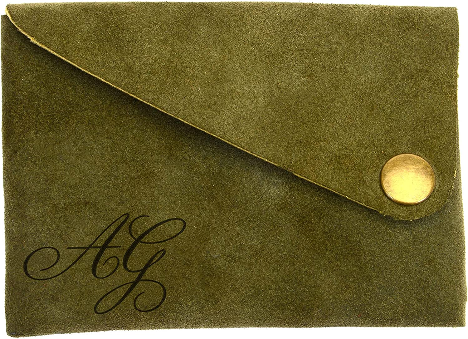 Suede Leather Flap Wallet Personalized Wing Fold Genuine Leather Wallet Men's Leather Card Wallet in Khaki Green