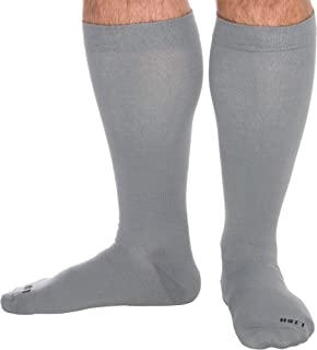 LISH Men's Wide Calf Compression Socks - Graduated 15-25 mmHg Knee High Plus Size Support Stockings