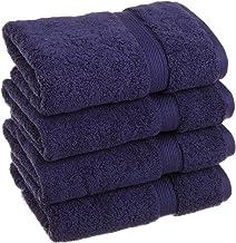 Superior Bathroom Accessories Bath Collection Towel Set, 4PC Hand, Navy Blue, 4 Count