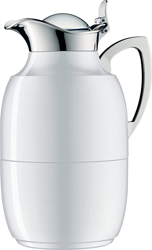 Alfi Juwel Glass Vacuum Lacquered Metal Thermal Carafe For Hot And Cold Beverages 1 0 L Polar White