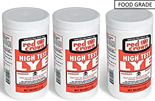 Red Crown High Test Lye for Soap Making Food Grade Case of 3-2 Lb. Packages, Hand Sanitizer Included