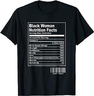 Fun Black Woman Nutrition Facts T-Shirt Black History Month
