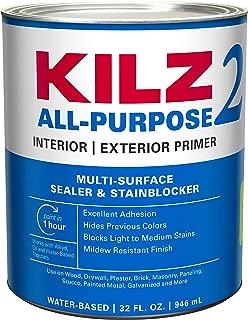 KILZ 2 Multi-Surface Stain Blocking Interior/Exterior Latex Primer/Sealer, White, 1 quart