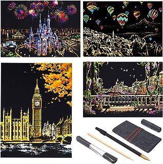 Longruner Scratch Off Art Rainbow Painting Paper Engraving Art Set DIY Art Skethches