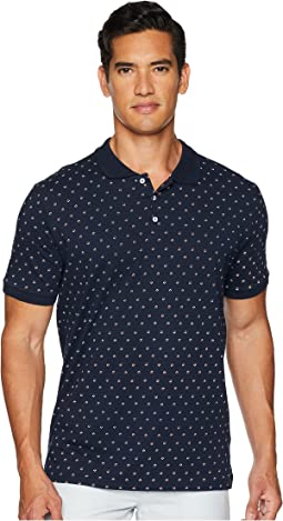 Geo Floral Print Jersey Polo