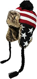 High Desert Gear Unisex Winter American Flag Hat Peruvian Bomber Trapper Hat Deluxe Fur with Pom Pom Size M