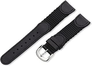 19mm 'Men's' Leather Watch Strap, Color:Black (Model: MSM866RA 190)