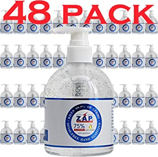 ZAP Hand Sanitizer Gel (48 Pack - 16 OZ Pump Bottle) 75% Ethyl Alcohol - Kills 99.9% of Germs With Moisturi...