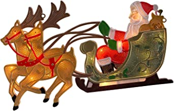 Rentier Weihnachtsdekoration LEDs Weihnachtsmann SET Weihnachtsdeko Schlitten
