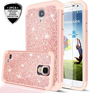 Samsung Galaxy S4 Case with Tempered Glass Screen Protector [2 Pack] for Girls Women,LeYi Glitter Bling [PC Silicone ] Hybrid Heavy Duty Protective Phone Case for Samsung Galaxy S4 TP Rose Gold