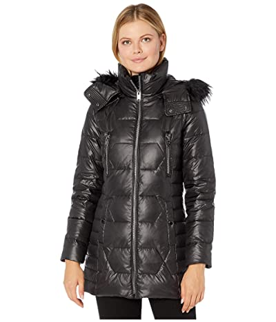 Marc New York by Andrew Marc Down Quilted Puffer Jacket w/ Faux Fur (Black) Women