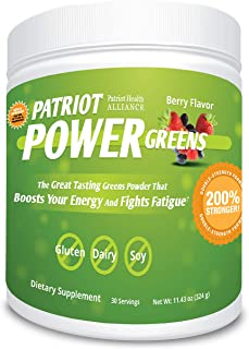 Patriot Power Greens: Green Drink - Organic Superfood Dietary Supplement - 40+ Fruits & Vegetables - 60 Day Supply - 11.43...