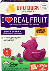 Little Duck Organics, Fruit Snacks Super Berries Organic 5 Count, 1.75 Ounce