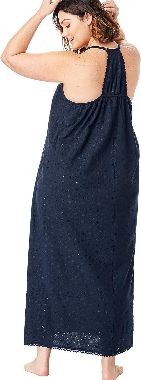 Dreams & Co. Women's Plus Size Breezy Eyelet Knit Long Nightgown - 26/28, White