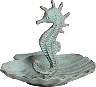 NIKKY HOME Shabby Chic Metal Seahorse Jewelry Holder Stand Display Storage Earring Necklace Ring, 3.94 x 3.74 x 3.35 Inches, Aqua Blue