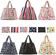 Tebery 6 Pack Reusable Grocery Bags Large Foldable Shopping Tote Bag Washable Heavy Duty Purse Shopping Bags