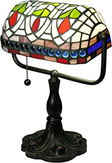 Warehouse of Tiffany KS20MB50 12-inch Stained Glass Desk Lamp with Blue Gemstones, One Size, Multi-Color
