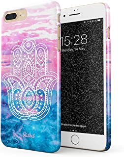 Glitbit Compatible with iPhone 7 Plus / 8 Plus Case Hamsa Fatima Hand Luck Symbol Mandala Henna Paisley Clouds Landscape Mountains Pattern Thin Design Durable Hard Shell Plastic Protective Case Cover