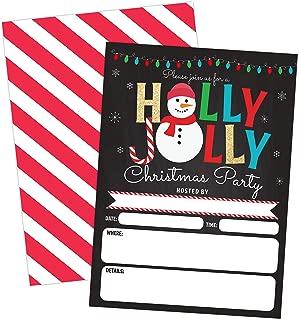 Christmas Party Invitation Holly Jolly Snowman, Holiday Party Invite, Christmas Party, Holiday Party Invitations, 20 Fill in Invitations and Envelopes