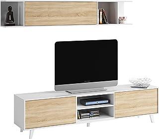 Mueble de salón Comedor Módulo TV + Estante Modelo Zaiken Plus Color Blanco Brillo y Roble Canadian Medidas: 180 cm (...