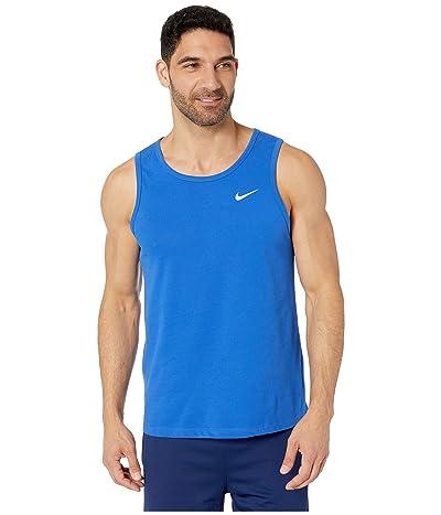 Nike Dry Tank Dri-FITtm Cotton Solid (Game Royal/White) Men