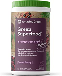 Amazing Grass Green Superfood Antioxidant Organic Powder with Elderberry, Wheatgrass, and 7 Super Greens, Flavor: Sweet Berry, 60 Servings