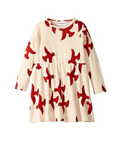 mini rodini Flying Birds Long Sleeve Dress (Infant/Toddler/Little Kids/Big Kids) (Off-White) Girl
