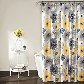 "Lush Decor Leah Shower Curtain - Bathroom Flower Floral Large Blooms Fabric Print Design, 72"" x 72"", Yellow/Gray"
