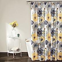 پرده دوش لوش دکوراسیون دو رنگ - طرح چاپ پارچه شکوفه های بزرگ گل ، حمام ، چاپ 72 x 72 اینچ ، زرد / خاکستری