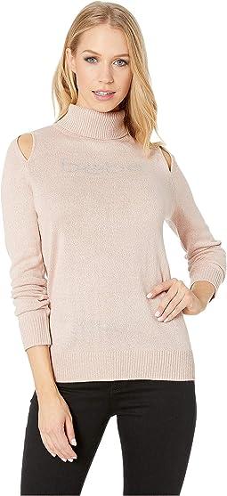 Cut Out Shoulder Turtleneck Sweater