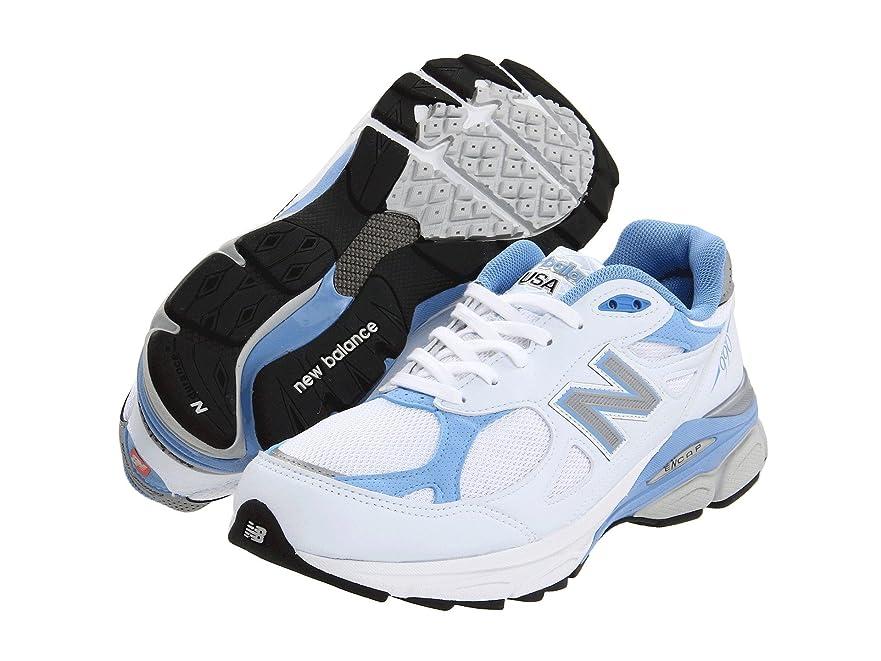 十分ですパンツ最少(ニューバランス) New Balance レディースランニングシューズ?スニーカー?靴 W990v3 White/Blue 6 (23cm) 2A - Narrow
