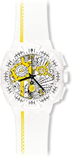 Swatch Women's SUIW410 Street Map Yellow Year-Round Chronograph Quartz White Watch