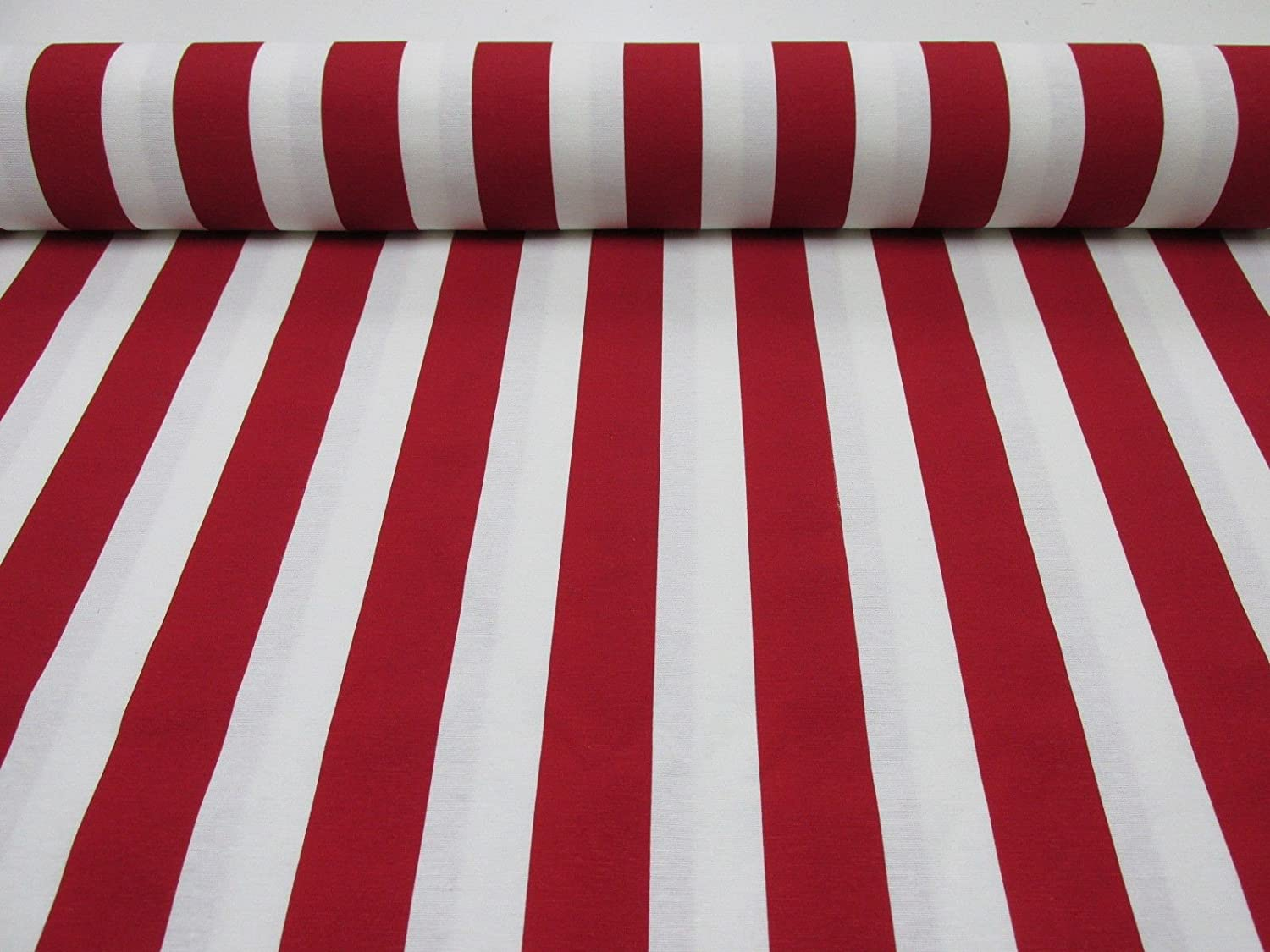 Amazon Com Homebuy White Striped Fabric Stripes Curtain Upholstery Material 280cm Wide 4 Colours Red Black Yellow Blue Black And White