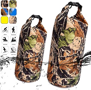 TOBWOLF Waterproof Dry Bag, Roll Top Floating Sack Camouflage Duffel Pouch Dry Bag for Beach, Kayaking, Boating, Swimming, Camping, Fishing, 15L/6L