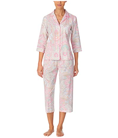 LAUREN Ralph Lauren Classic Wovens 3/4 Sleeve Notch Collar Capri Pants Pajama Set